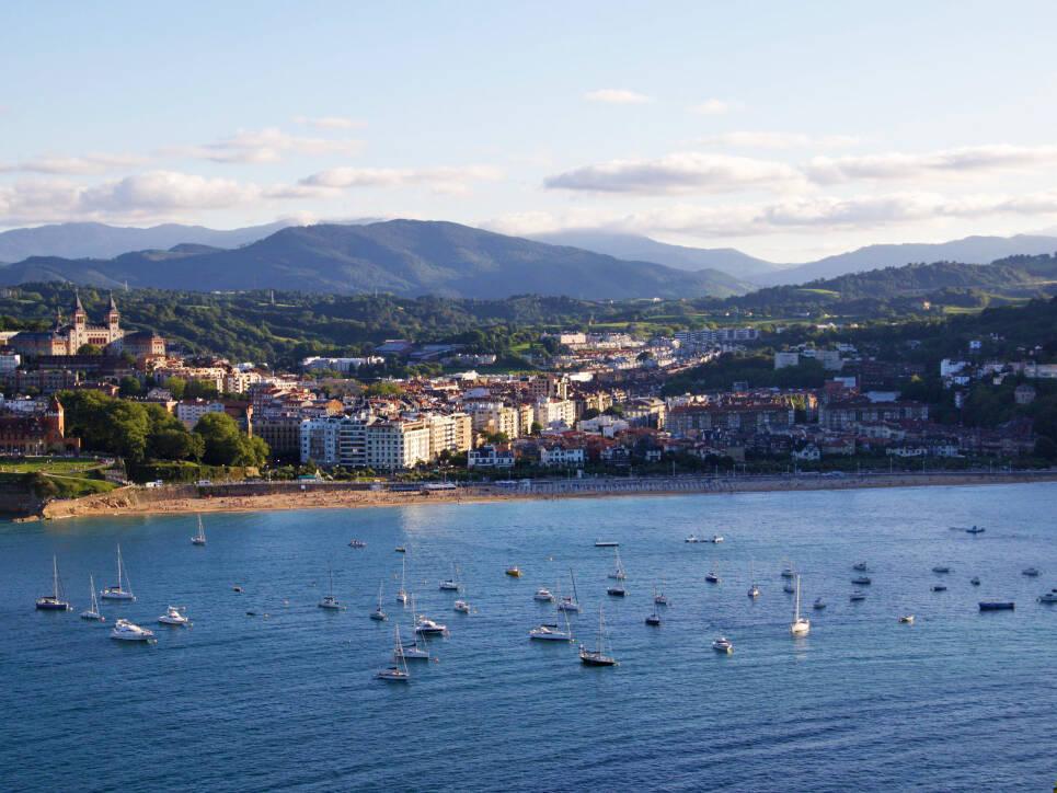 view over san sebastian beach basque country spain