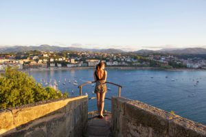 view san sebastian city sunset monte urgull spain