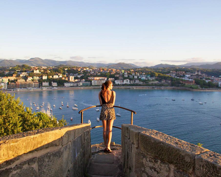 view san sebastian city sunset monte urgull spain
