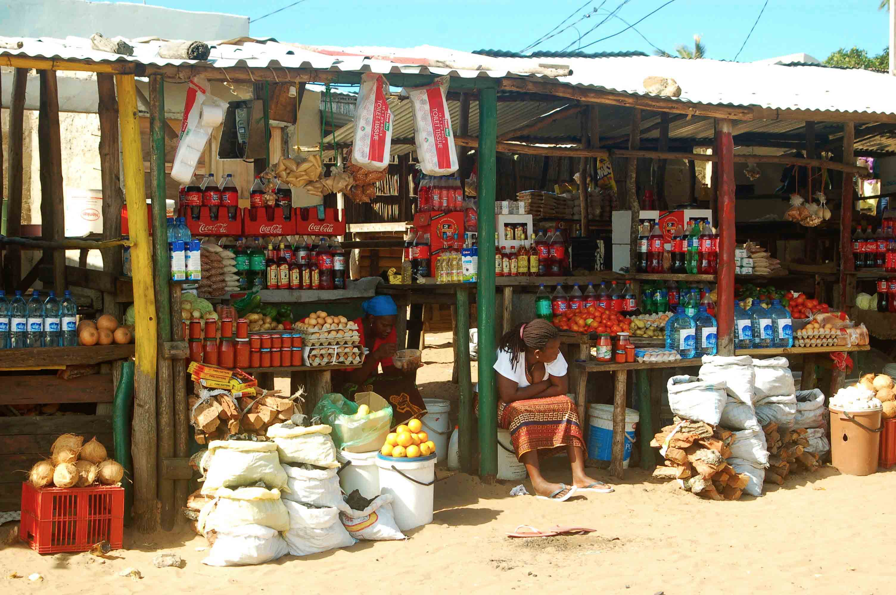 ponta do ouro market stands mozambique