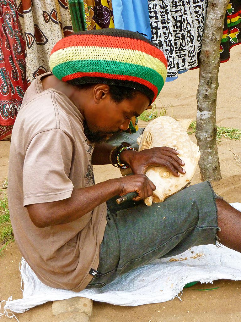 Wood carver in Ponta do Ouro Mozambique