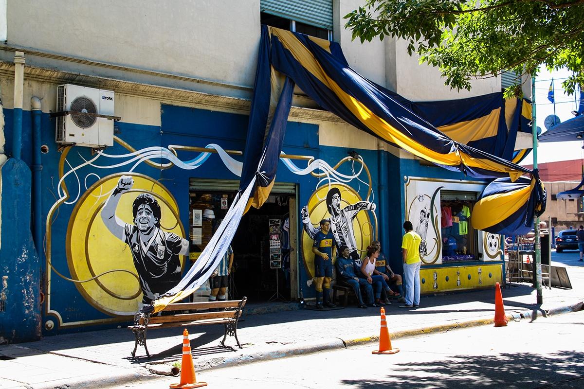 La Boca football club street art in Buenos Aires Argentina