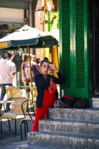 Tango dancer in the streets of La Boca Buenos Aires