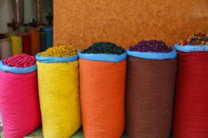 Colourful shops in de medina of Marrakech