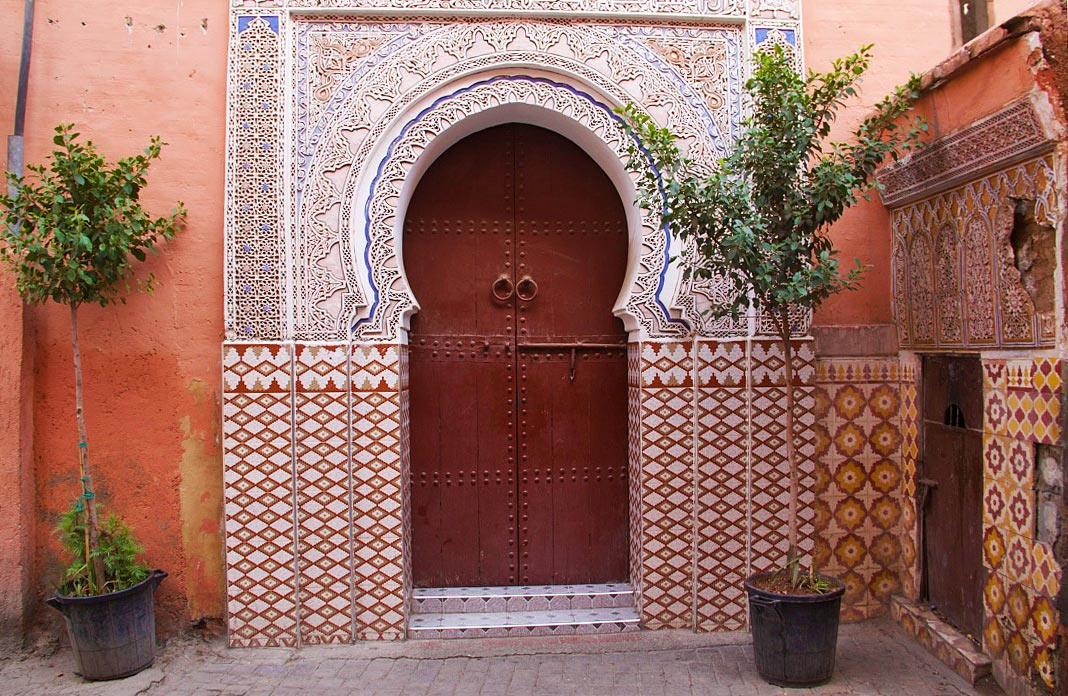 doors red city marrakech medina morocco