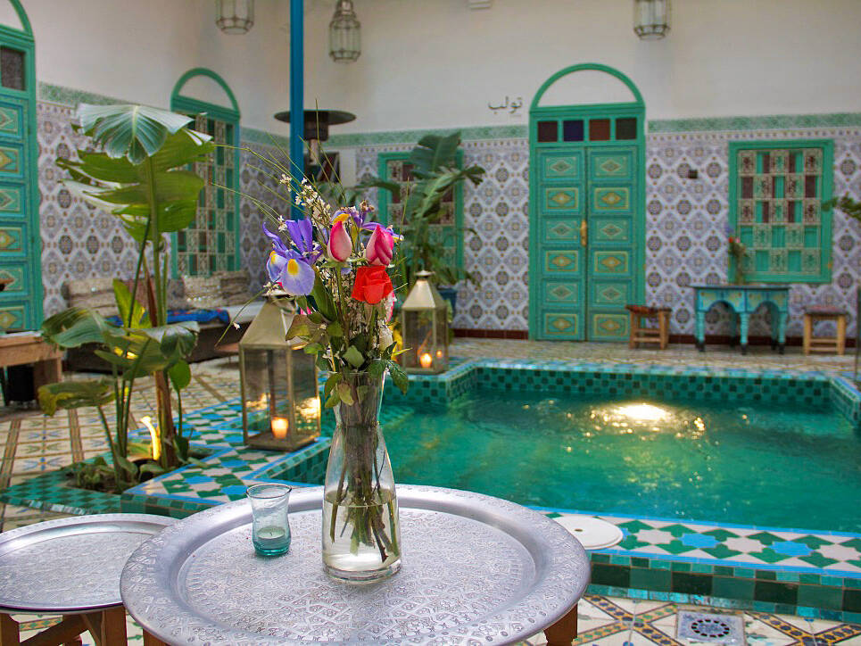 flowers swimming pool riad be marrakech morocco