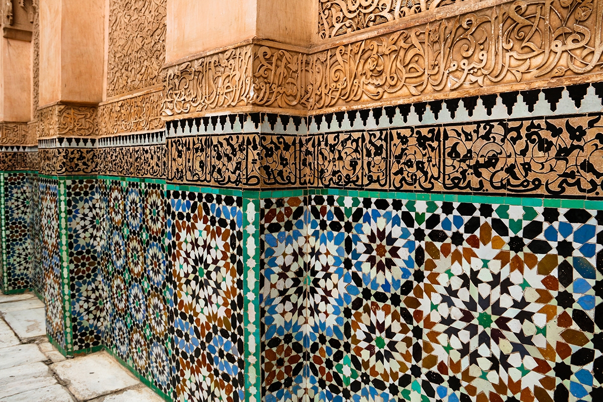 Mosaics at Madrassa Ben Youssef in Marrakech