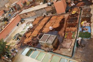 The tanneries in Marrakech Morocco