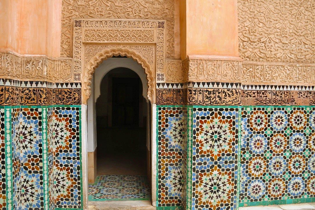 mosaic ben youssef madrasa marrakech morocco