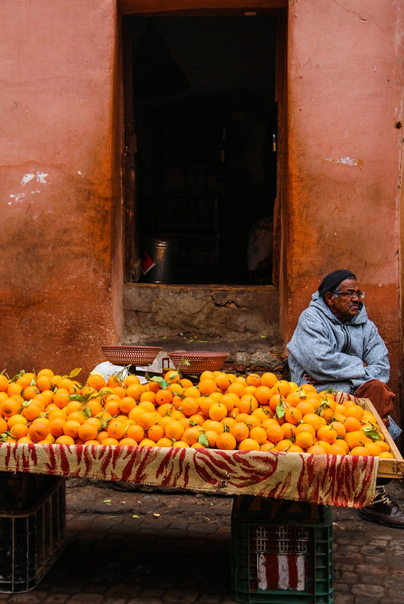 Orange seller in Marrakech Morocco