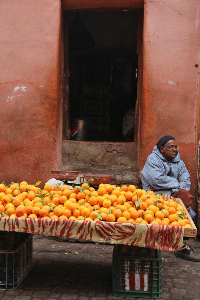 oranges streets marrakech medina morocco