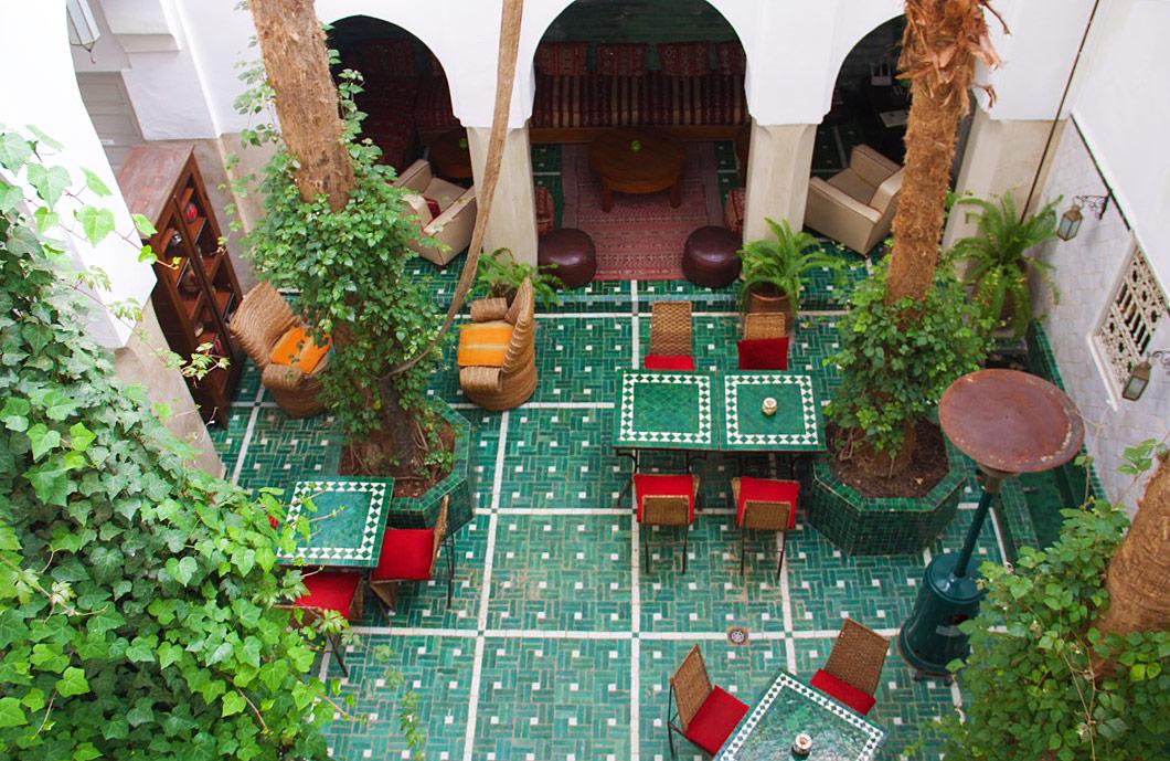 riad vert courtyard marrakech morocco