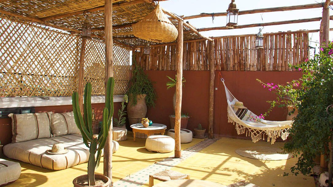 rooftop terrace at riad yasmine marrakech