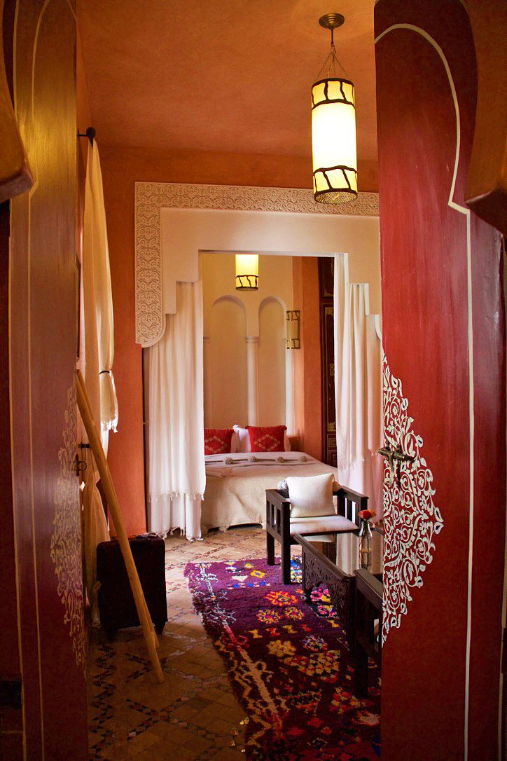room bed bathroom riad yasmine marrakech