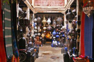 Shops in the Marrakech souk