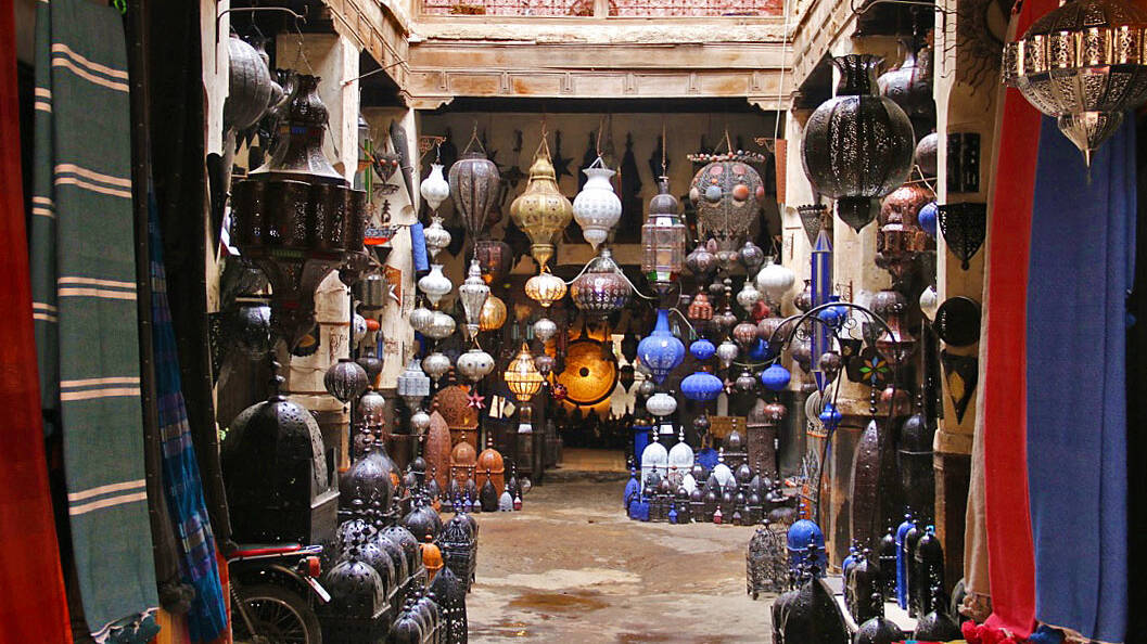 Shops in the Marrakech souk