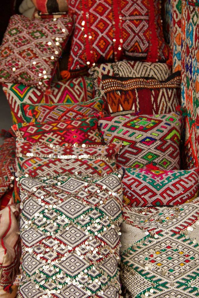 kelim pillows medina souk essaouira morocco