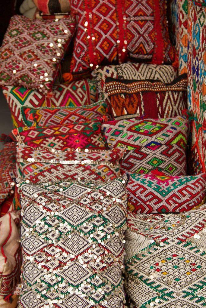 kelim pillows medina souk essaouira morocco