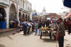 prayer mosque market street essaouira morocco