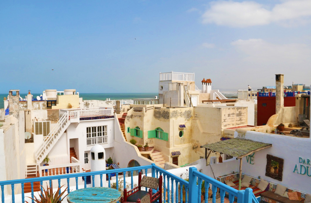 Rooftop view at Riad Dar Adul in Essaouira Morocco