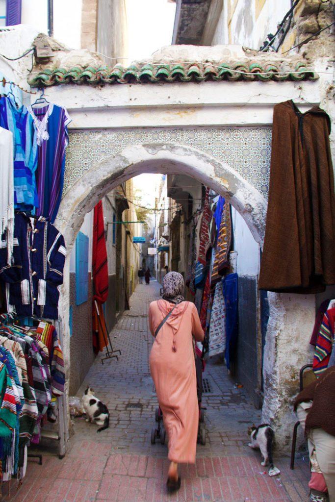 woman cats streets medina essaouira morocco