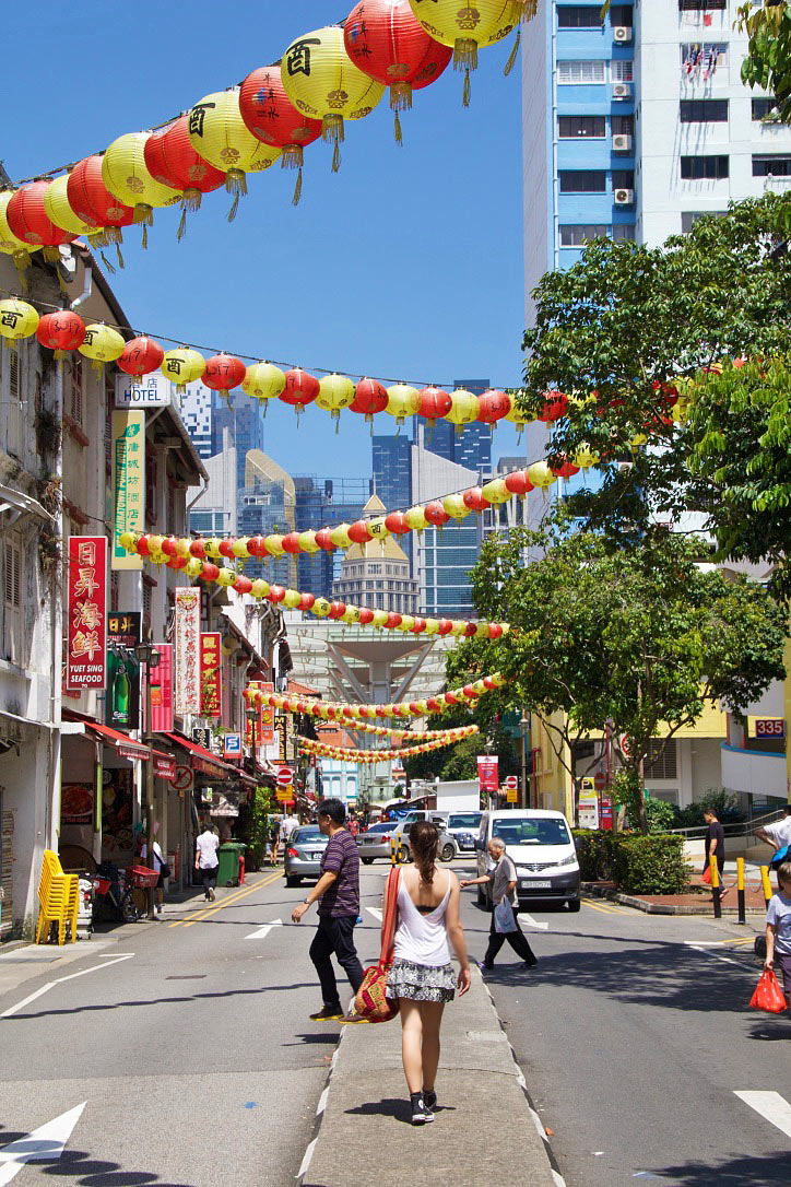 china town street singapore people