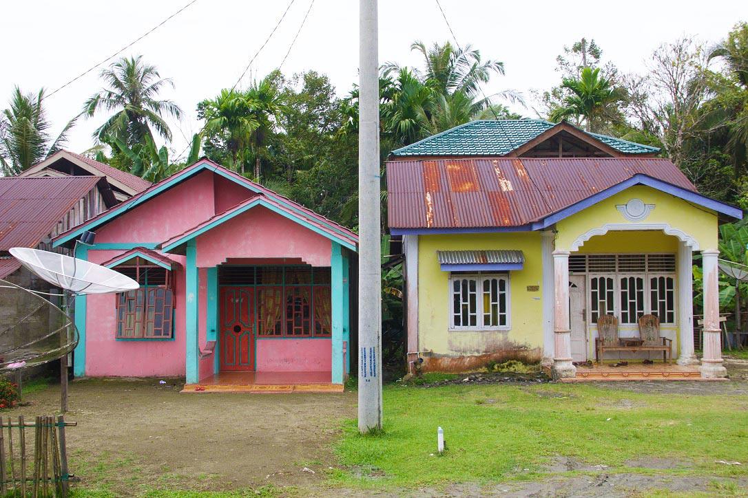 colorful houses simeulue island sumatra