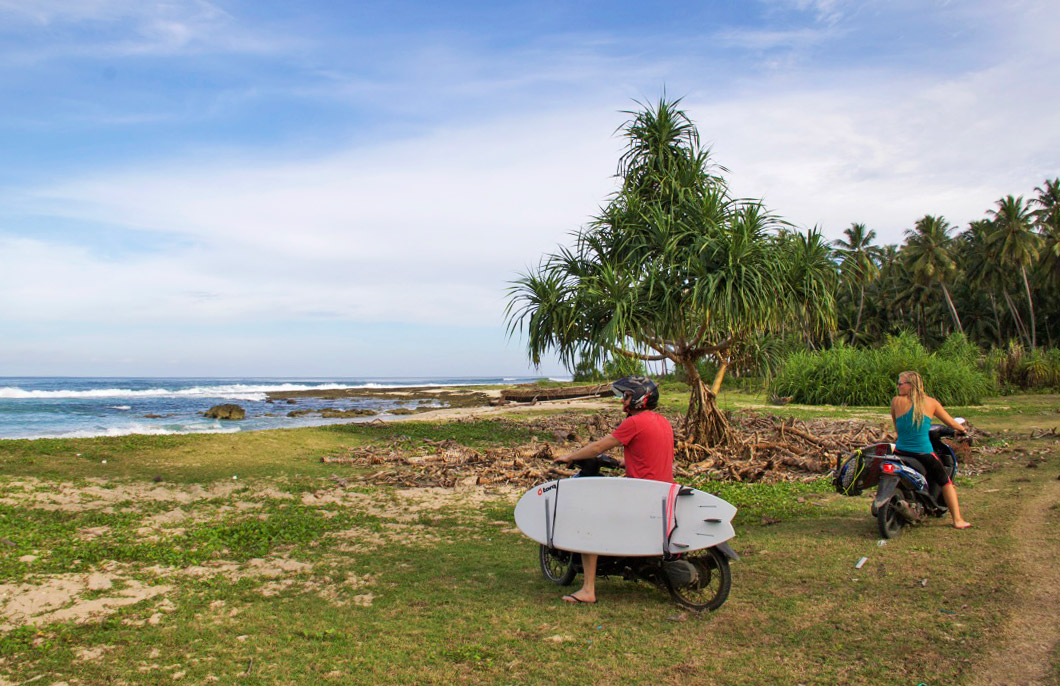 scooter simeulue surf lodges surfing beach sumatra