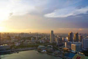 skyline view sunset marina bay sands hotel singapore