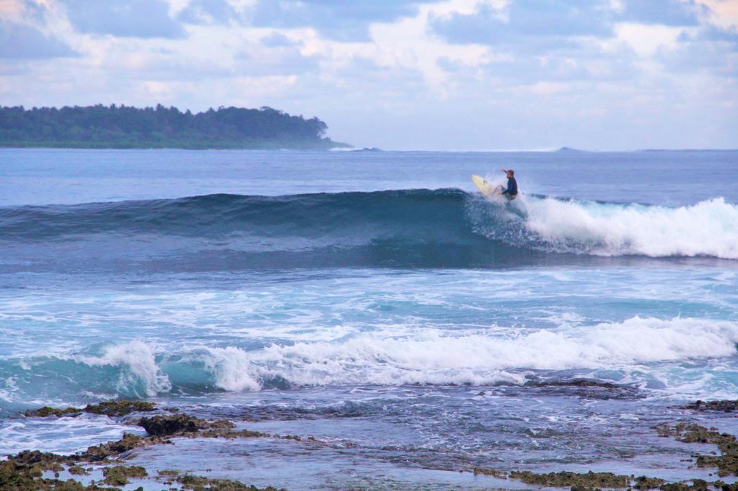 Surfing Dylan's right on Simeulue Island Sumatra