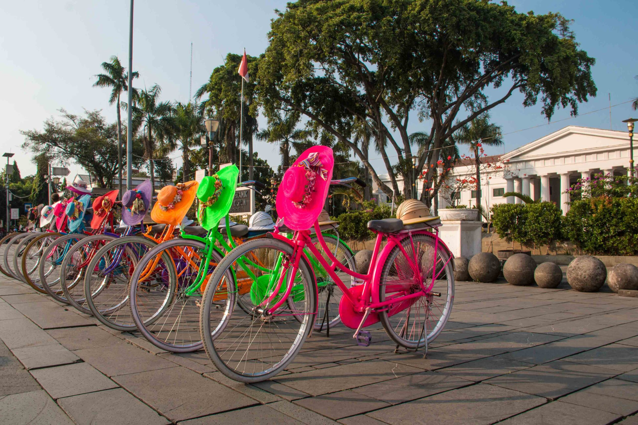 Bicycles on the Batavia Square in Jakarta Indonesia