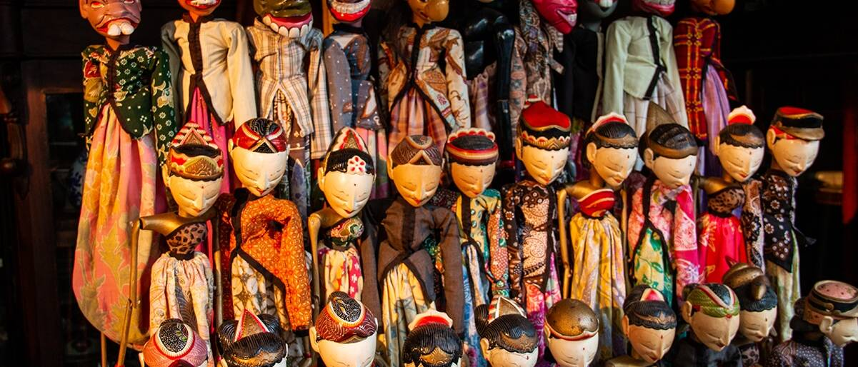 Wayan puppets at jl Surabaya antique market in Jakarta