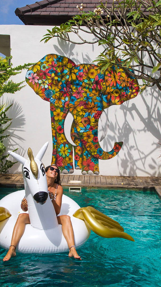 4quarters villa swimming pool floatie street art canggu bali