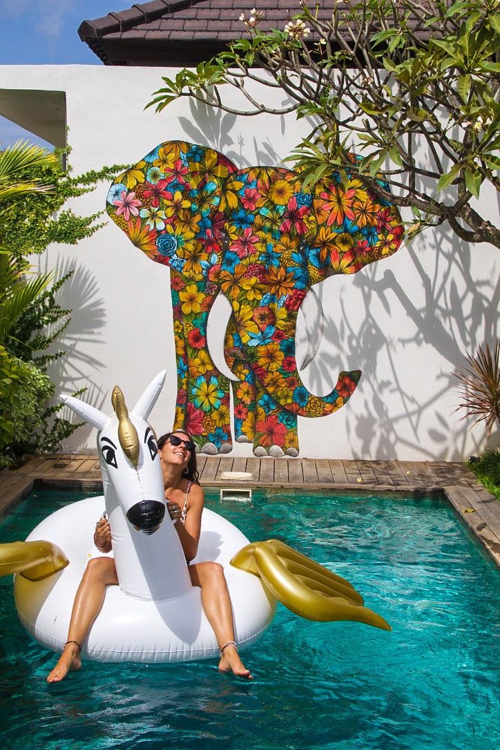 4quarters villa swimming pool floatie street art canggu bali