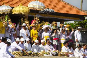 Hindu ceremony on the beach of Canggu Bali