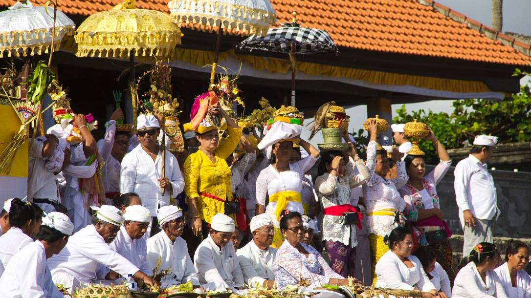 Hindu ceremony on the beach of Canggu Bali