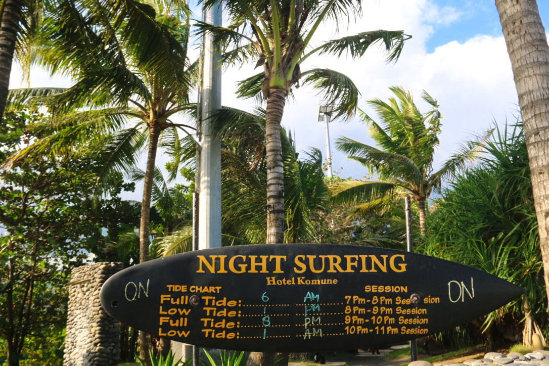 night surfing keramas beach bali