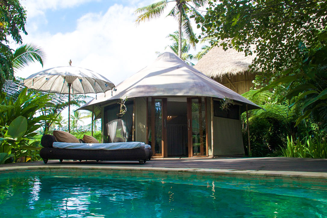 private swimming pool sandat glamping tents ubud bali