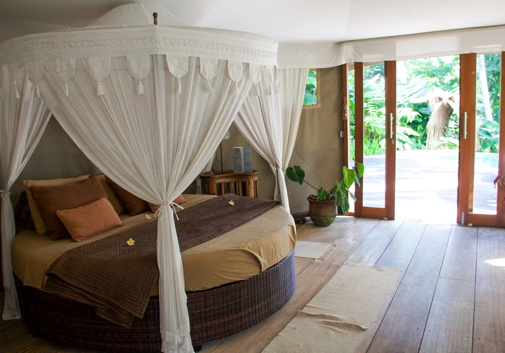 sandat glamping tents bedroom ubud