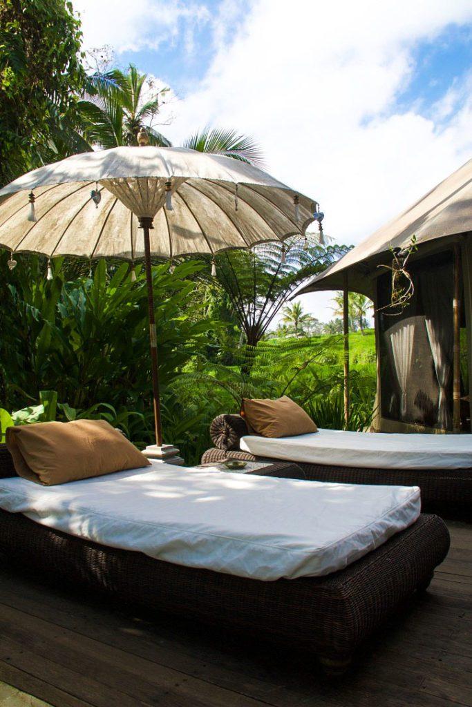 sandat glamping tents rice fields view ubud