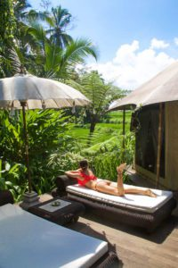 sandat glamping tents rice fields ubud