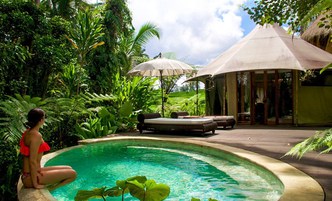 sandat glamping tents ubud swimming pool bali