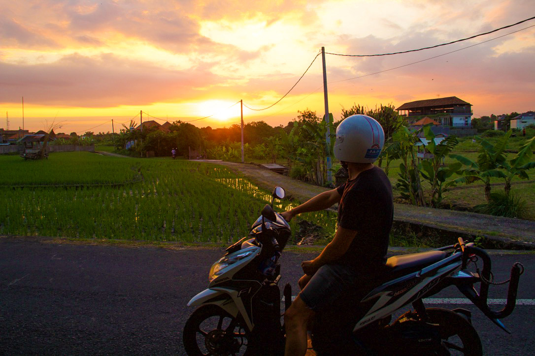 scooter canggu rice fields sunset bali