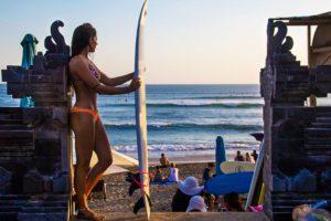 sunset surfing batu bolong beach canggu bali