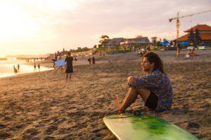 surfer sunset canggu beach bali