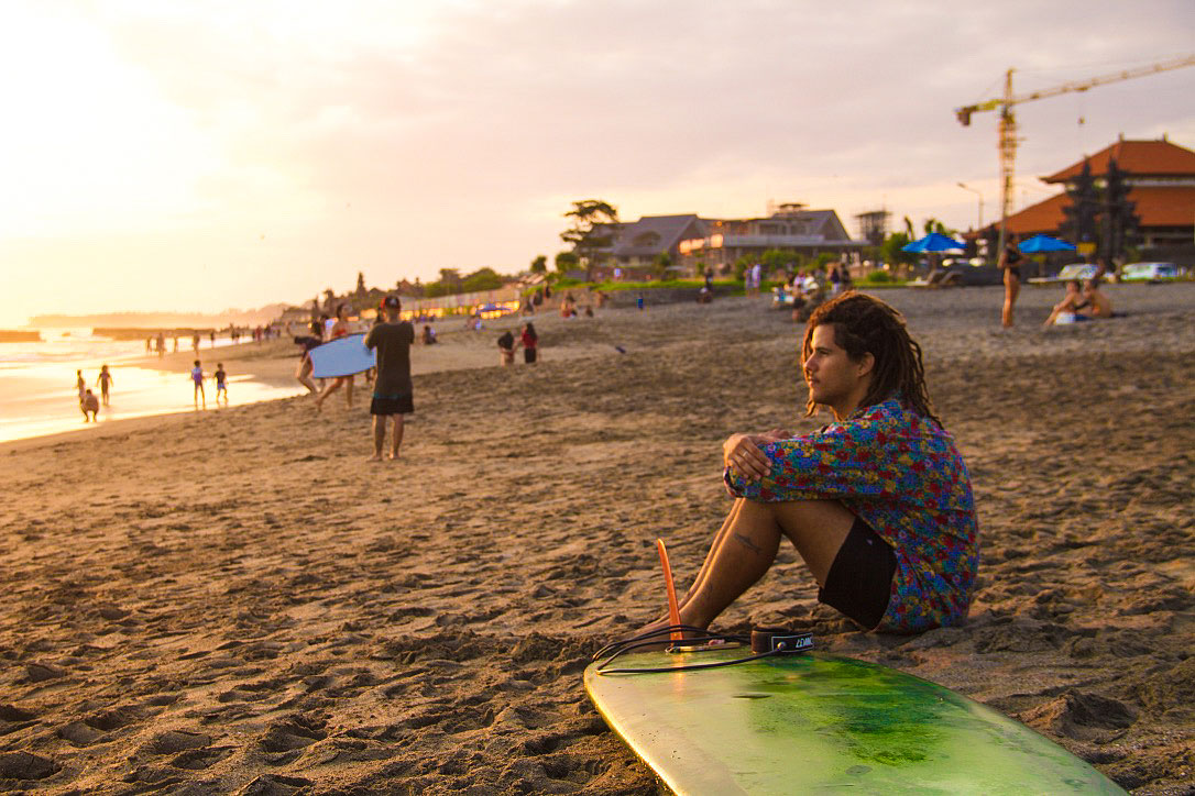 surfer sunset canggu beach bali