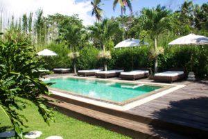 swimming pool at sandat glamping tents ubud bali