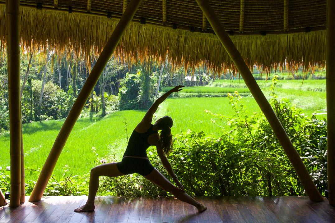 yoga lesson sandat glamping tents ubud bali
