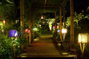 desa seni garden at night canggu bali
