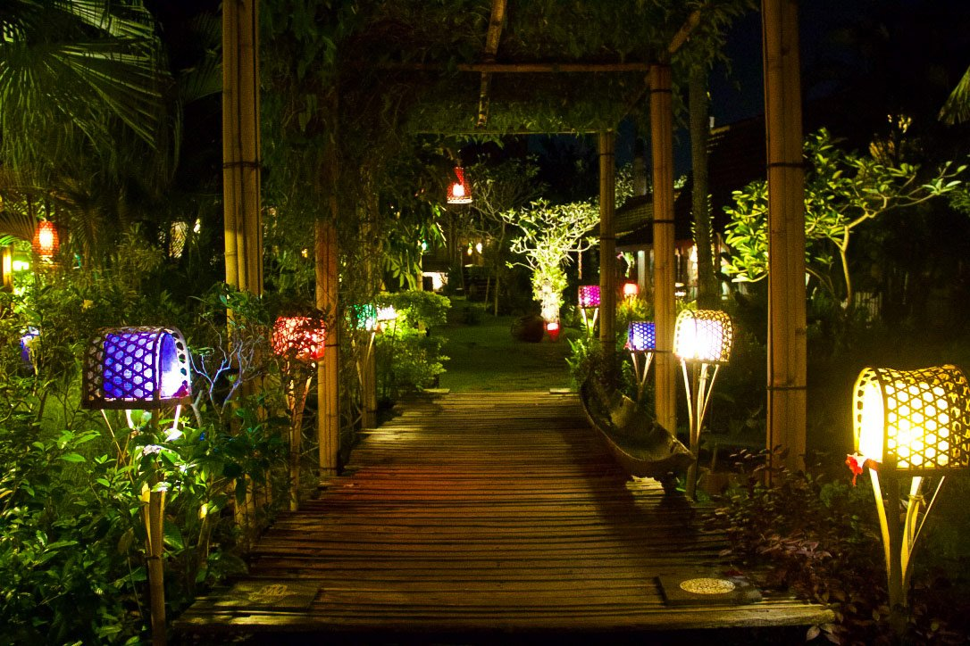 desa seni garden at night canggu bali
